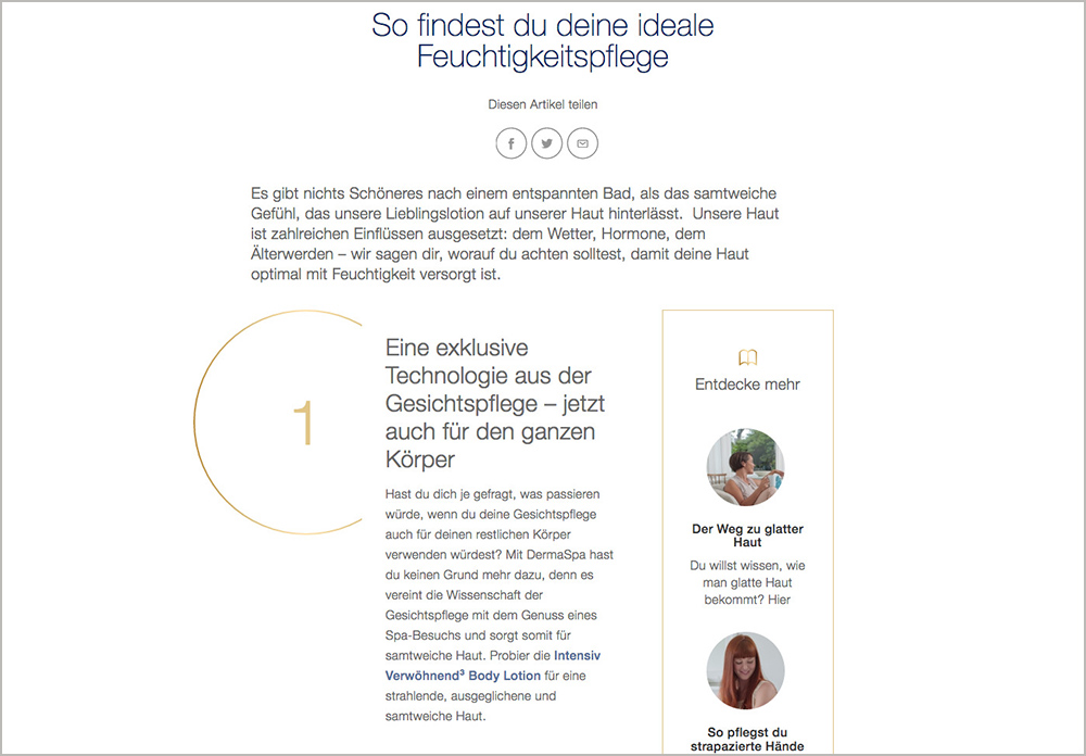 Screenshot Dove Webseite