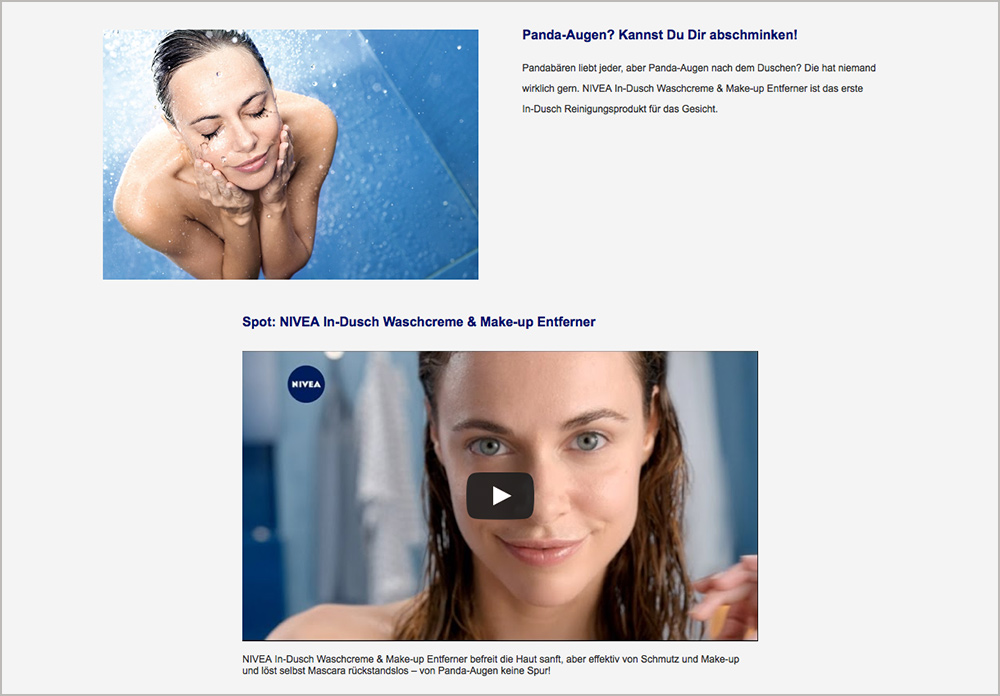 Screenshot NIVEA Website