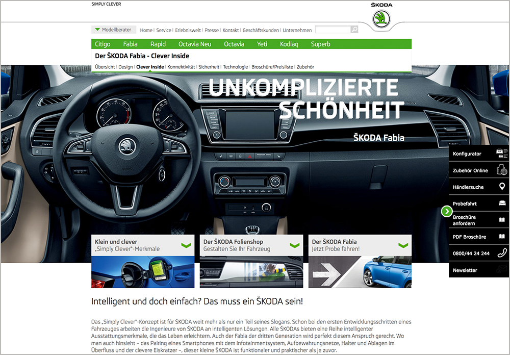 Screenshot Skoda Website