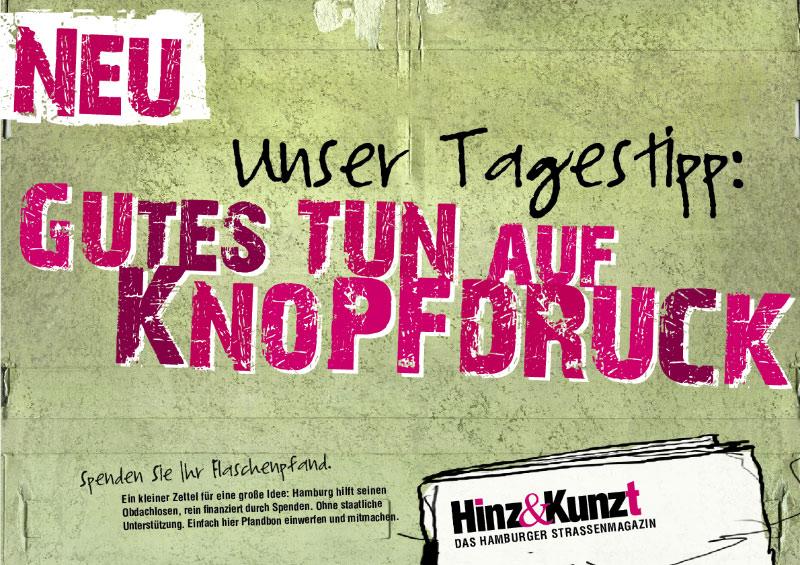 Hinz & Kunzt - Spendenaufruf Getränkeautomat